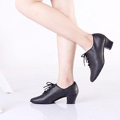 Silence @ pour femme Chaussures de danse latine/danse des chaussures en cuir épais Talon Noir noir