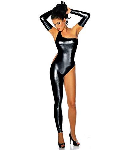 Kostüm Lederhosen Girl - Sexy Einbeinige Lederhose Mit Einer Schulter Bar SäNgerin Dance Girl Ds Lackleder Bronzing Overalls Nightclub Dancer Performance KostüM
