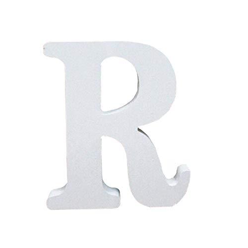 Holzbuchstabe Buchstabe, Toifucos A-Z DIY Englisch Alphabet Holz Buchstaben Handwerk Ornamente für Zuhause Hochzeit Geburtstagsfeier Dekoration Zubehör, Weiß 1 pcs R (Dekorationen Für Tisch Geburtstagsfeiern)