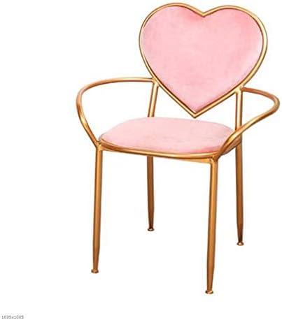 DDHZTA Chaise Chaise Chaise De Table De Toilette Simple Chaise De Chambre De Décoration Nordique Simple Rose Coeur-Forme De Maquillage Chaise Creative Fauteuil De Fer Art Chaise Balcon Chaise De Loisir | Conception Moderne  6ed42e