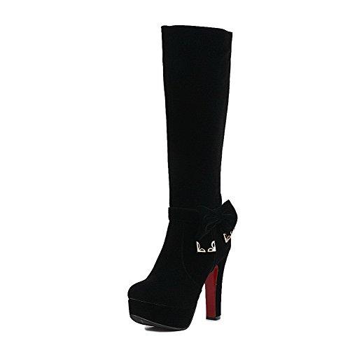 AgooLar Damen Reißverschluss Rinder Rein Stiefel mit Metallisch, Grau, 33