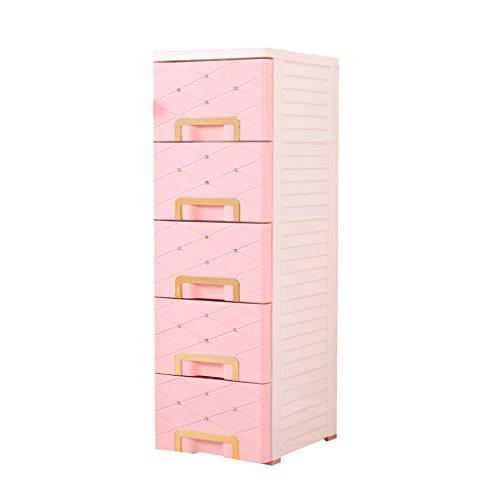 Champagne Gold Pink Aufbewahrungsbox Schublade Nachttisch aus Kunststoff Mehrstöckige Schließfächer 5-Tier-Badezimmer-Kleidungs-Finishing-Schrank -