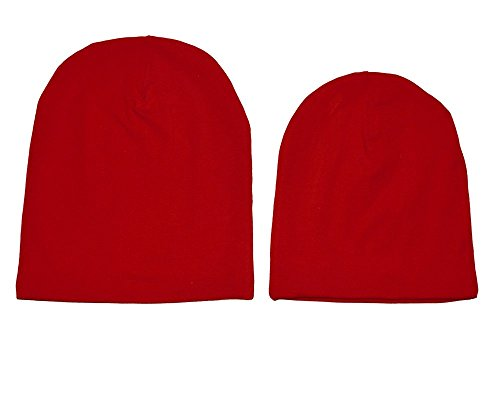 Neugeborenen, Babymädchen, Mädchen und Erwachsenen Rot slouchy Beanie, Handarbeit aus Baumwollstoff, reversible Hut sind ein perfektes Geschenk für Valentinstag, Mama und mir. (Erwachsenen-kind-beanies)