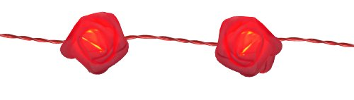 Rot Timer (Best Season LED-Lichterkette Rose Basket / 15-teilig / Kabel rot / rote Rosen im Korb / Timer / Länge 2.1 m / batteriebetrieben, 726-31)