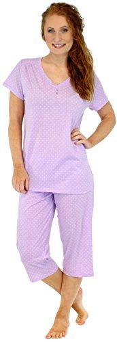 Sleepyheads Pyjama für Damen aus 100% baumwolle mit kurzen Ärmeln und ¾-Hosecotton zweiteiliges nachtwäsche-set (STCJ385LWD-XL) (Set Capri)