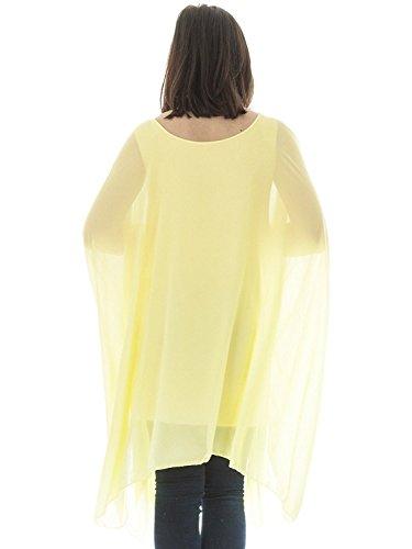 Femmes surdimensionné Top pour femme Baggy Top Coupe ample Top T-shirt à manches longues chauve-souris en mousseline de soie Top Robe d'été pour femme pour femme Chemisier pour femme Tunique Jaune
