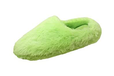Ladies Memory Foam Mules Warm Luxurious Slippers In Green Good Christmas Present UK Size 3