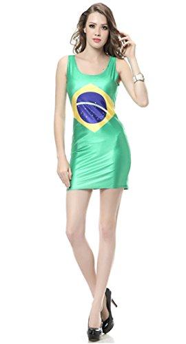 Thenice Damen A-Linie Kleid Mehrfarbig SKULL BLACK One size Brazil Flag