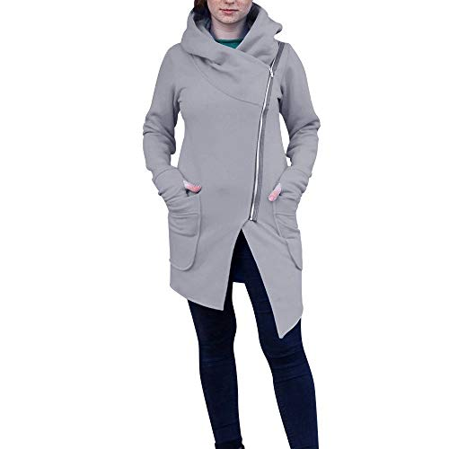 Damen stylischer Herbst Winter Jacke Hoodie Sweatshirt Kapuzenpullover Female Zipped Jacket Sweatjacke Kapuzenjacke Mode Pulli Strickpullover Lang Mantel von Innerternet