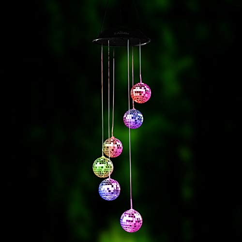 bene Disco Spiegelkugel Wind Mobile Romantic Chime LED-Lichtspirale Spinner Outdoor Chime für Yard Garden Home ()