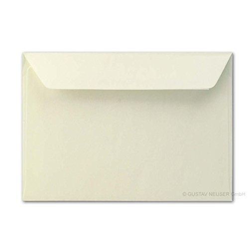 75x Brief-umschläge aus Feinst-Papier 12 x 18 cm - ca DIN B6 mit Haftklebung, creme, stabile 90 g/m², Post-Umschläge Brief-kuverts