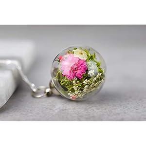 925er Echte Blüten-Bouquet II Silber Kette – Schmuck mit echten Blüten Naturschmuck aus Silber Dillblüten Rosen Chrysanthemen Schmuck Geburtstagsgeschenk Hochzeitsschmuck