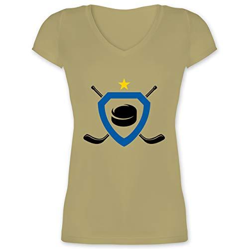 Eishockey - Puck Eishockeyschläger Stern - M - Olivgrün - XO1525 - Damen T-Shirt mit V-Ausschnitt