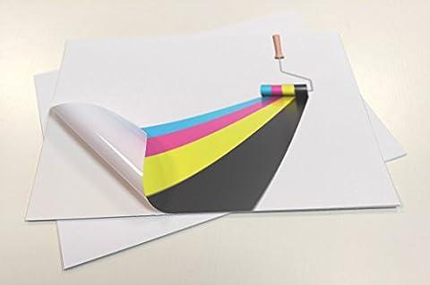 10Feuilles Premium étanche Feuilles de vinyle (PVC) Blanc mat adhésif autocollant A4Laser Jet d'encre de qualité imprimable