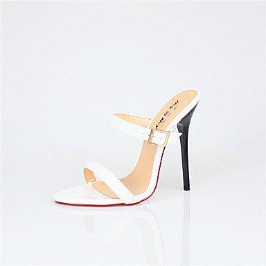 zhENfu Donna talloni 13cm Altezza tacco Sexy Round Toe Stiletto Heel sandali scarpe di partito White