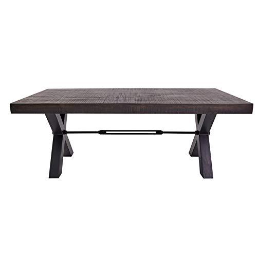 Massiver Esstisch Iron Craft 200cm Mangoholz grau Industrial Design Tisch Konferenztisch