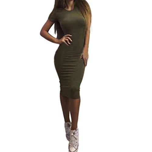 Frauen Fashion Sexy Solid Kurzarm Dünnes Kleid Damen Knielanges Klassische Unterkleid Frauen Sexy Unterrock Miederkleid mit Trägern (Sexy Grün, M) ()