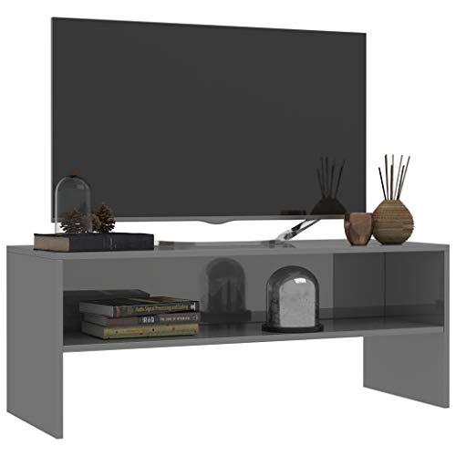 Tidyard TV-Schrank Fernsehschrank Spanplatte TV-Tisch Klassisch Stil mit 1 Offenen Fach Wohnung Ablageregal Sideboard Beistelltisch TV-Bank Monitorständer (Hochglanz-Grau, 100 x 40 x 40 cm)
