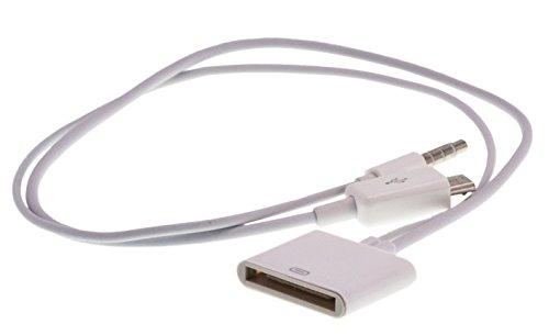 Micro USB Audioadapter Y-Kabel AUX Ladekabel für Anschluss iPhone alt (30-polig) zu allen Geräten mit Micro USB Anschluss wie Samsung Galaxy, Note, HTC, Sony uvm. / Ideal für Audioübertragung in weiß von TW-Handy
