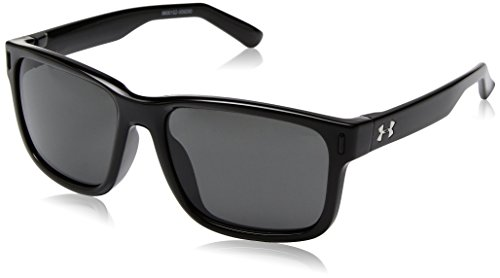 Under Armour UA Rookie Wayfarer Sunglasses, UA Rookie Shiny Black Frame / Gray Lens, 51 mm