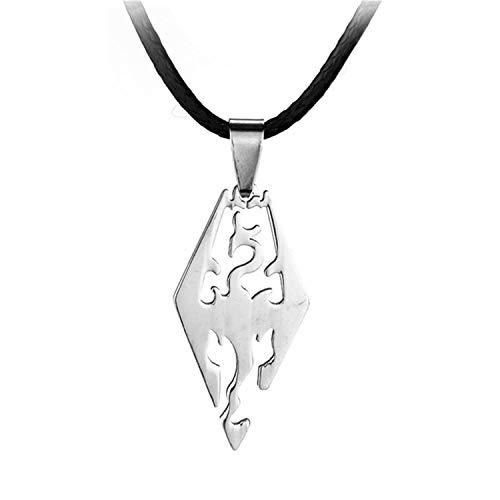 Hzzzzz Game The Elder Scrolls Skyrim Logo Necklace Dragon Totem Stainless Steel Pendant Necklaces