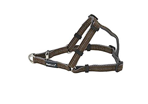 Petface Signature Padded Dog Harness, Large, Brown with grey stitching