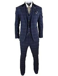 Costume Homme Tweed à Chevrons Bleu Marine Carreaux 3 pièces Style Peaky Blinders