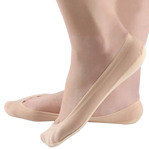 Damen Füßlinge Unsichtbare Sneakers Baumwolle Nylon Socken mit Rutschfest Silikon(4Paar) (EU 39-42, L, 4Hautfarbe) -