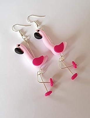 boucles d'oreille flamants roses rose pastel et fuchsia flamingo