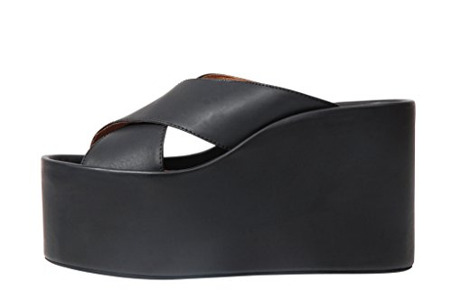 Jeffrey Campbell Cameron Platform black sandal crossed bands - Sandalo incrociato nero suola alta Nero