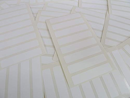 Paquet de 112, 50x10mm Rectangulaire, Plastique Blanc Étiquettes, Adhésif Permanent Rectangles, Collant Durable Poly Imperméable Stickers