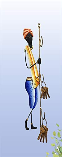 Karigaari India Wrought Iron Rajasthani Man Key Holder   3 Hooks