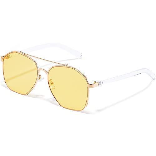 Z&HA Helle Farbe Sonnenbrille Für Frauen Retro-Halbrahmen Unregelmäßige Transparente Farbe Ocean Objektiv Dekorative Brille UV-Schutz Brillen,Yellow