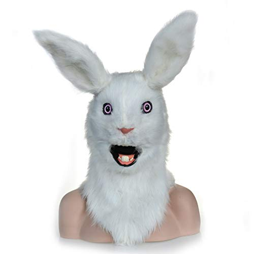 RONGLINGXING Erschrockene Maske White Rabbit Head Mask, Maskerade Halloween Karneval Geburtstagsfeier Kostüm Realistische Handmade Customized Animal Cosplay Moving Mouth mit Fell - Handmade Kaninchen Kostüm