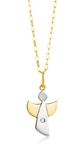 Miore Kette - Halskette Damen Kette mit Engel Bicolor Gelbgold/Weißgold 9 Karat / 375 Gold Diamant Brilliant 45 cm