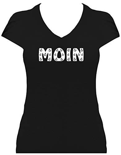 BlingelingShirts Shirt Damen Moin Schriftzug kleine Anker maritim Hamburg Anchor, T-Shirt, Grösse XL, schwarz