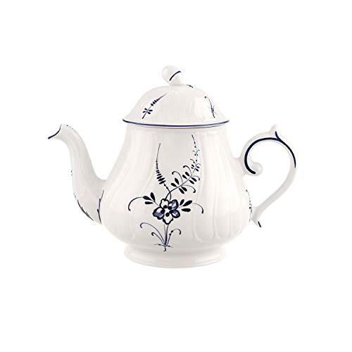 Villeroy & boch vieux luxembourg teiera, 1,1 litri, porcellana premium, bianco/blu