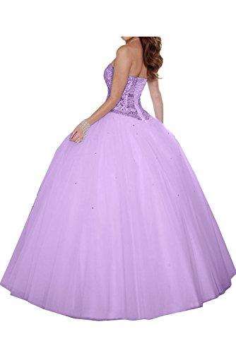 Sunvary Glamour Neu Herzform Ballgown Paillette Perlen Abendkleider Ballkleider Lang Partykleid Fuchsia