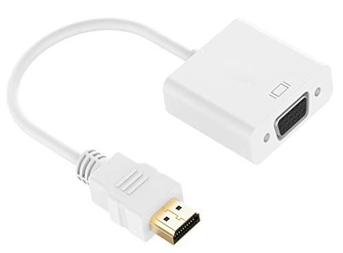 LUCKLYSTAR® HDMI zu VGA Adapter, 1080p HDMI Stecker zu VGA Buchse Video Converter Kabel mit Audio Anschluss für Laptop, Xbox 360 One, PS4, PS3, PC Projektor und andere HDMI Geräte Smart Video Converter