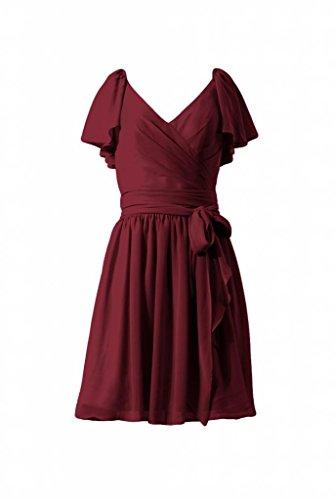 daisyformals robe courte de Vintage Modeste robe de demoiselle d'honneur en mousseline (bm1662) Rouge - #10-Dark Scarlet