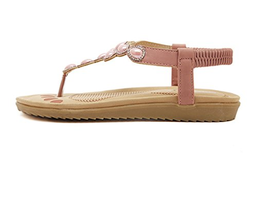 Sommer Strand Sommer Slip On Perlen Flach Keilabsatz Lässige Flip Flops Sandalen Pink
