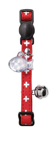 HUNTER Halsband für Katzen Swiss mit mit Verschluss von sicurezzasalilpelle rot/schwarz