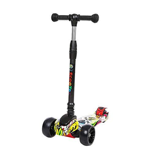 HYIKOW Kinderroller Dreiradscooter mit Faltbares und Einstellbare Höhe für Kinder 2-12 Jahre alt