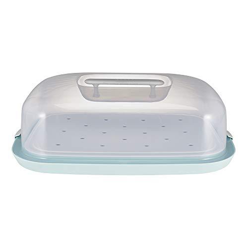keeeper Sandwich-, Kuchen- und Muffin-Butler mit Servierplatte, BPA-freier Kunststoff, 48,5 x 35 x 15 cm, Paolo, Mintgrün