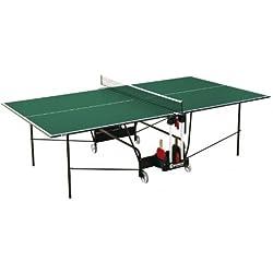 Sponeta - Mesa de ping pong (interior, 274 x 152,5 x 76 cm, plegable, 69 kg, tablero de 19 mm, incluye red y soporte para palas, melamina), color verde