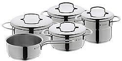 WMF Mini Topfset mit Metalldeckel 5-teilig, klein, Kochtopf, Stielkasserolle, Cromargan Edelstahl poliert, Induktion, stapelbar, ideal für kleine Portionen oder Singlehaushalte