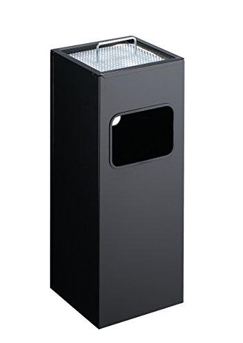 Durable 333101 Papierkorb Metall mit Ascher eckig, schwarz