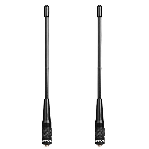 Retevis RHD701 Walkie Talkie Antenne Dual Band VHF/UHF SMA-F High Gain Antenne Kompatibel mit Walkie Talkie RT21 RT5 RT5R RT5RV RT7 H777 Baofeng BF-888s UV-5R UV-5RA UV-5RB UV-5RC UV-5RD (2 STK.) Uhf-high-gain-antenne