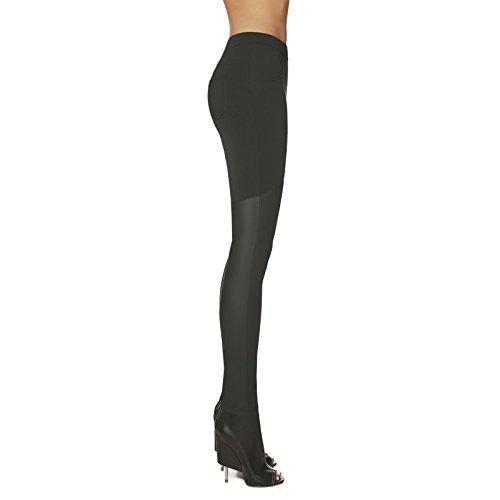Legging fashion effet cuissardes simili cuir haute qualité Noir