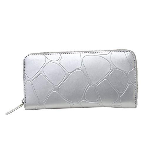 Serpentine Leder (Schultertasche Damen Mode neue serpentine reißverschluss leder brieftasche geldbörse kartenhalter handtasche silber One Size)